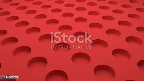 istock 3D-rendering of red abstract background with circle holes 1194258079