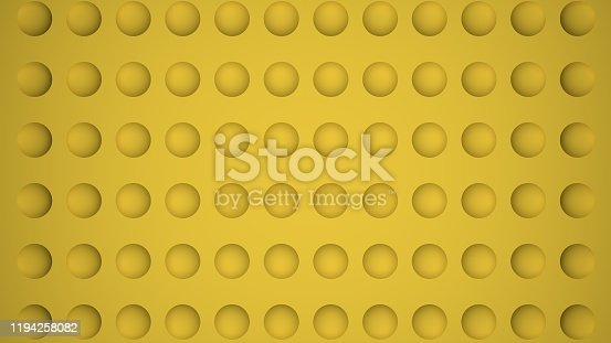 istock 3D-rendering of yellow abstract background with circle holes 1194258082