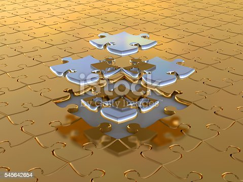 istock 3D-rendering pusli gold and silver. Business background 545642654