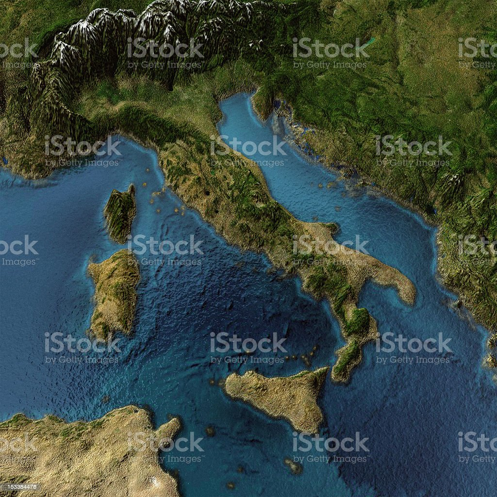3D-textured colorful map of Italy stock photo