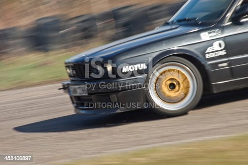 Siauliai, Lithuania - April 25, 2010: BMW 3er series AC Schnitzer edition drifting at License Day event. This event was only a selection event and amateur drivers who got highest scores were selected and had an opportunity to participate at Lithuanian Drifting Championship events.