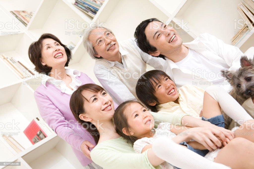 3-generation family portraits. royalty-free stock photo
