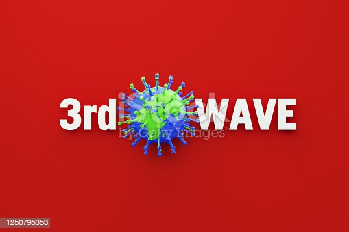 3rd wave message and virus which is textured with world map sitting over red background, Horizontal composition. COVID-19 3rd wave concept.