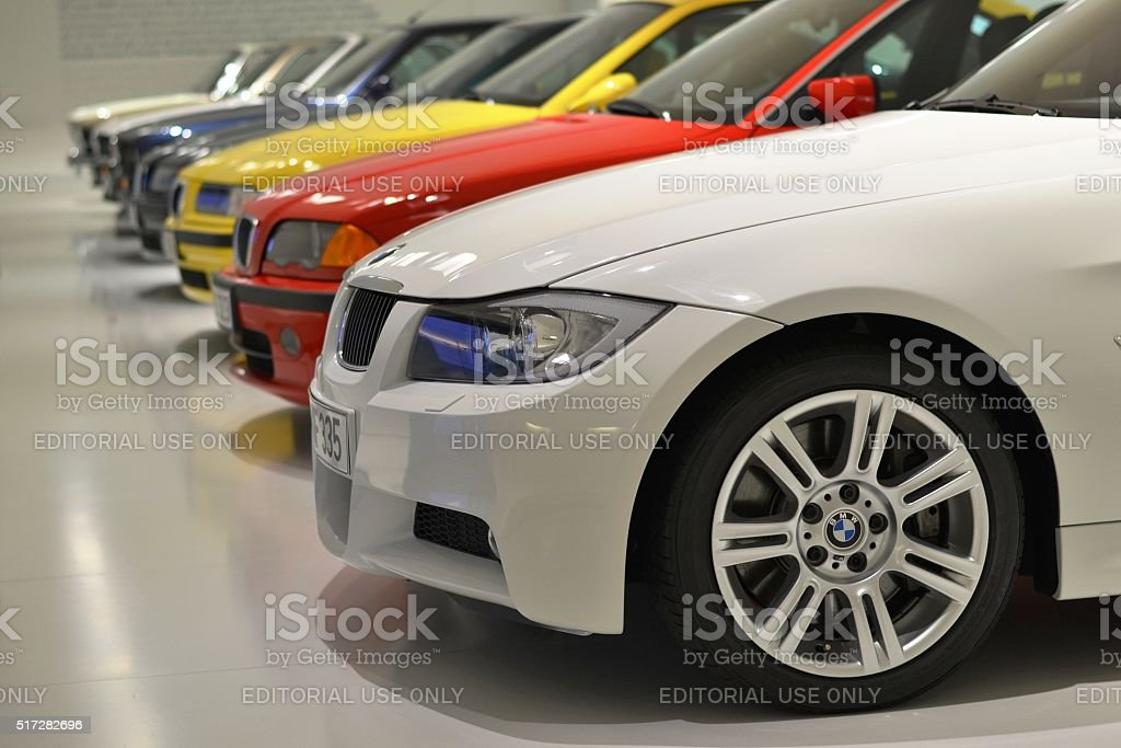 BMW 3-series in a row stock photo