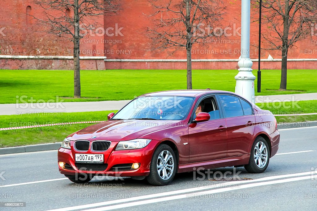 BMW E90 3-series Moscow, Russia - May 5, 2012: Motor car BMW E90 3-series drives at the city street. 2015 Stock Photo