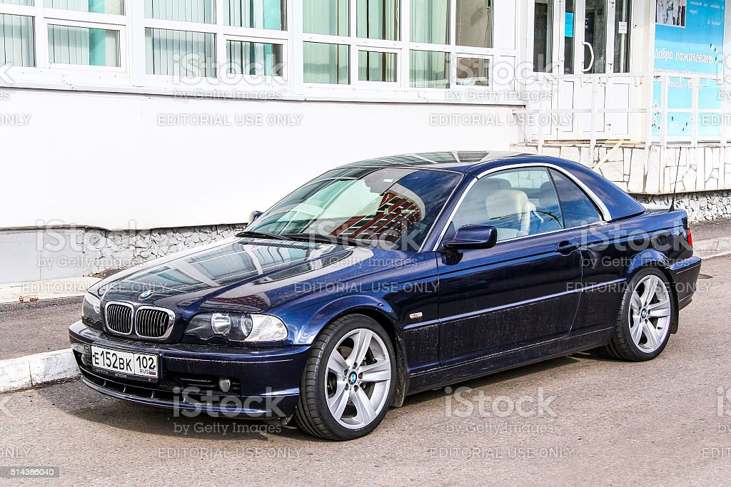 BMW E46 3-series Ufa, Russia - September 24, 2011: Motor car BMW E46 3-series is parked in the city street. Athleticism Stock Photo