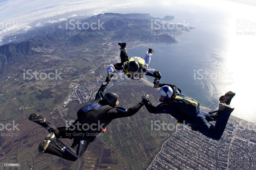 3-Way Skydive Over the Bay of Roses royalty-free stock photo