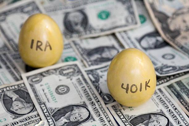 401k and IRA golden eggs on one dollar bills