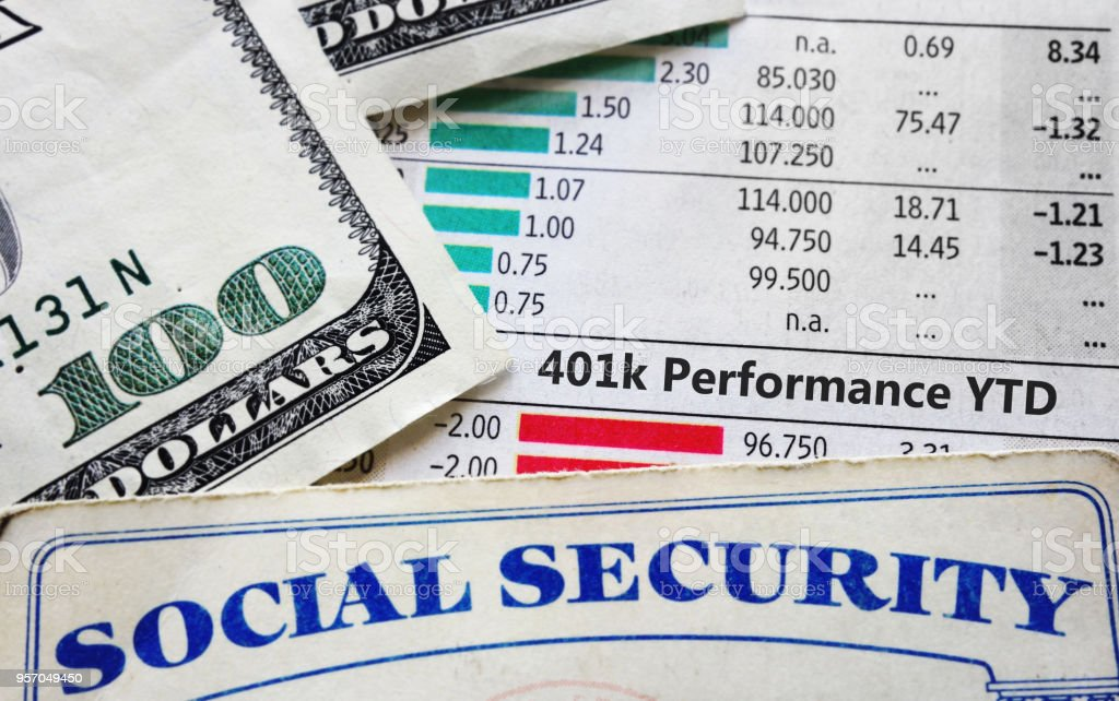 401k charts and social security stock photo