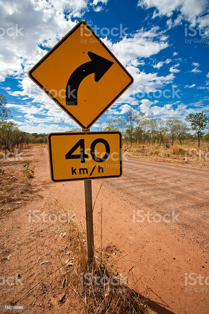 40km bend on dirt road Outback Australia royalty-free stock photo