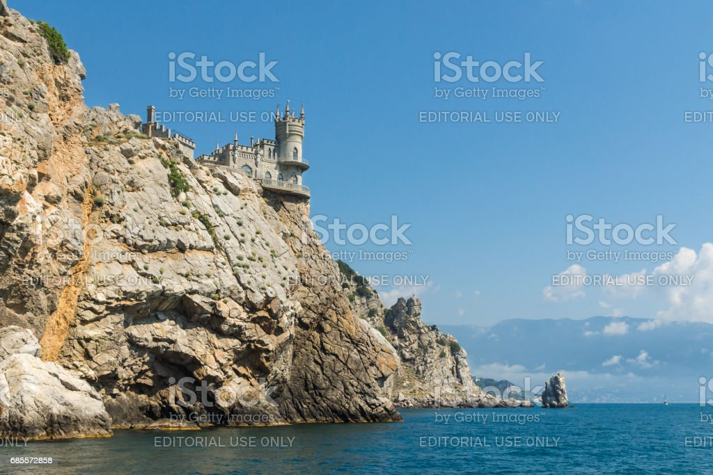 40-meter avrorina rock of Cape AI-Todor with the architectural monument 'swallow's nest' and the rock Sail into the Black sea. The Village Of Gaspra, Crimea stock photo