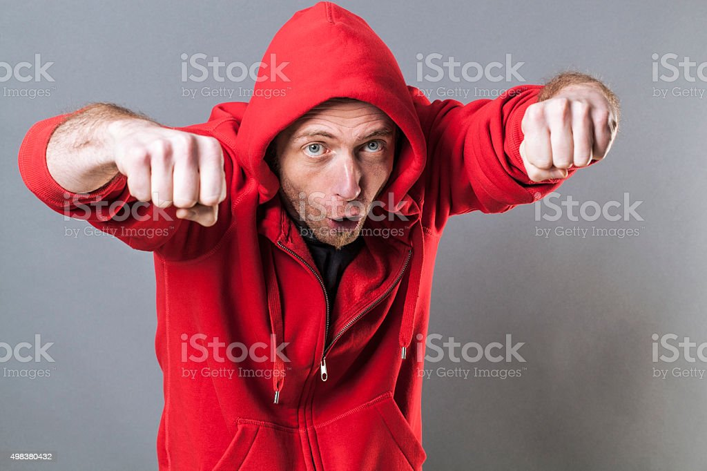 40s casual man acting like rapper with fun body language stock photo