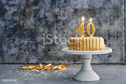 40th Birthday Cake with Marzipan and Chocolate