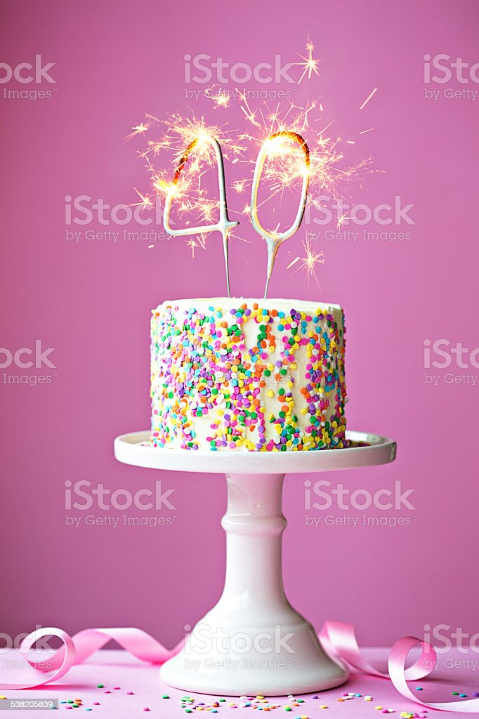 40th birthday cake stock photo