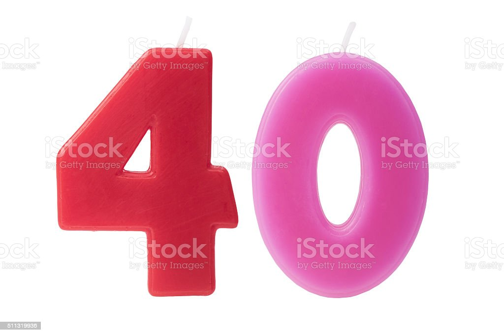 40th birthday candles isolated stock photo