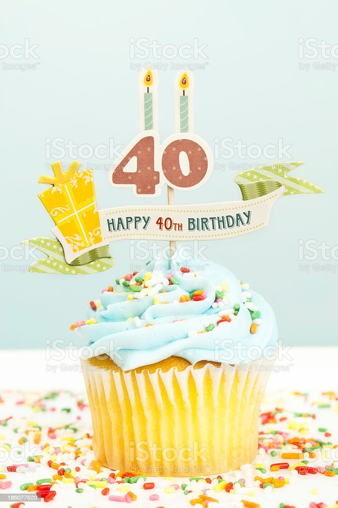 40th Birthday Cupcake stock photo