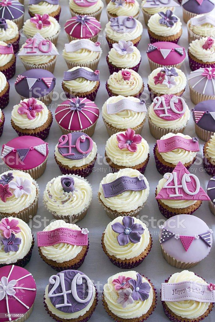 40th birthday cupcakes stock photo