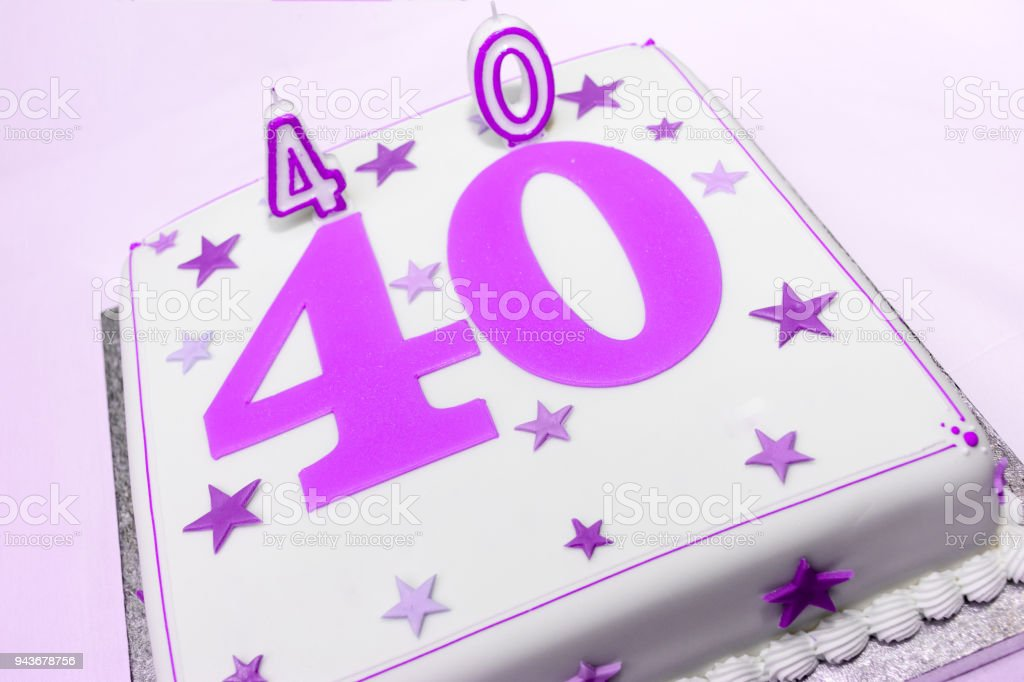 40th White Birthday Cake Stock Photo More Pictures Of Aging