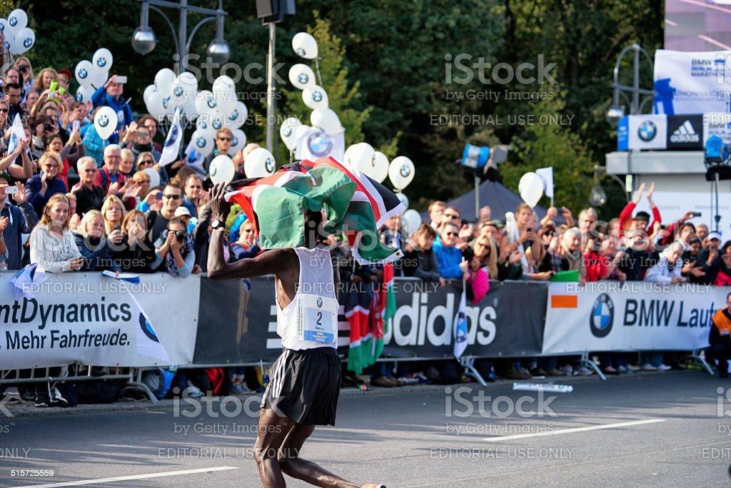 41st BMW Berlin Marathon 2014, Dennis Kimetto of Kenia stock photo