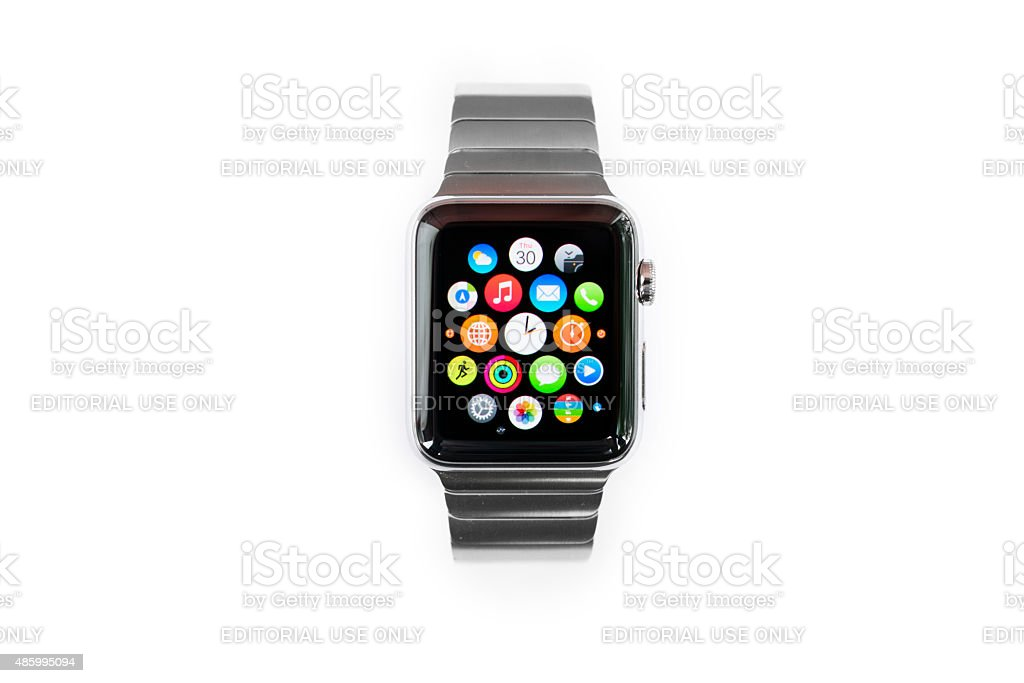 APPLE WATCH 42mm Stainless Steel with Link Bracelet stock photo