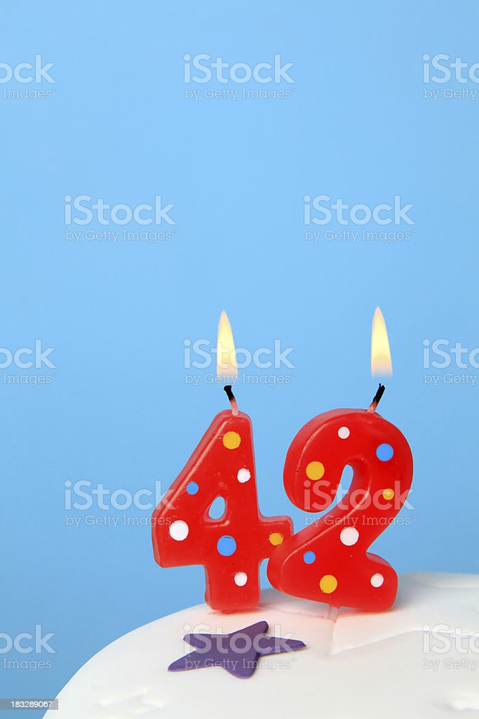 42nd Birthday candles royalty-free stock photo