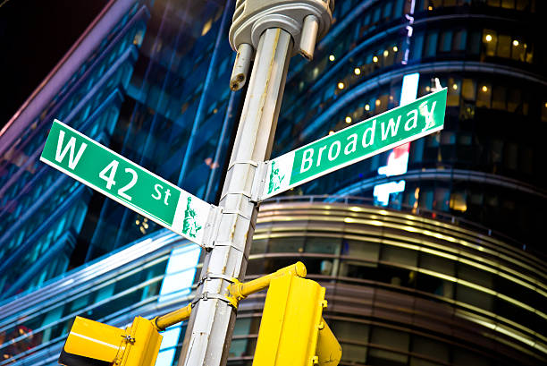 42nd Street and Broadway Sign stock photo
