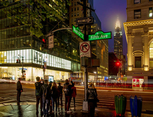 42nd Street and Fifth Avenue at Dusk Showing Chrysler Building