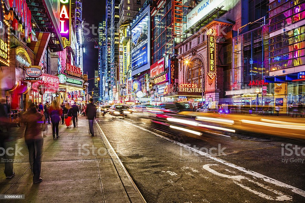 42nd street at night, New York City, USA stock photo