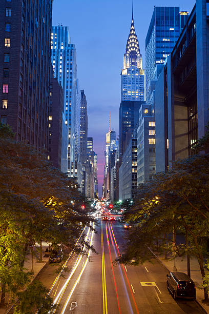 42nd street in manhattan - chrysler building stock photos and pictures