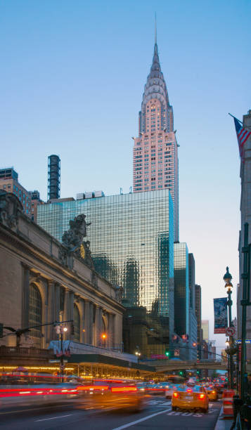 42nd Street View of Chrysler Building and Grand Central Terminal at Dusk