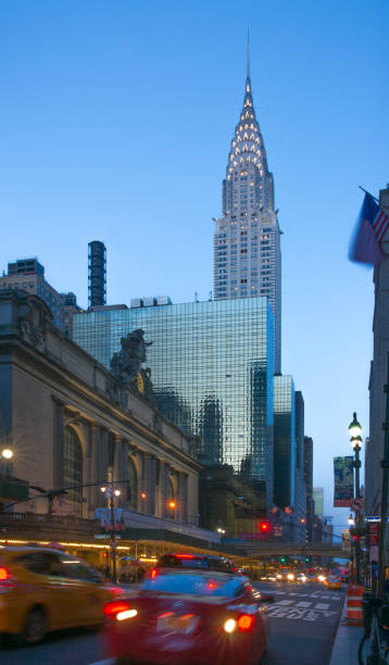 42nd Street View of Chrysler Building with Lights at Dust