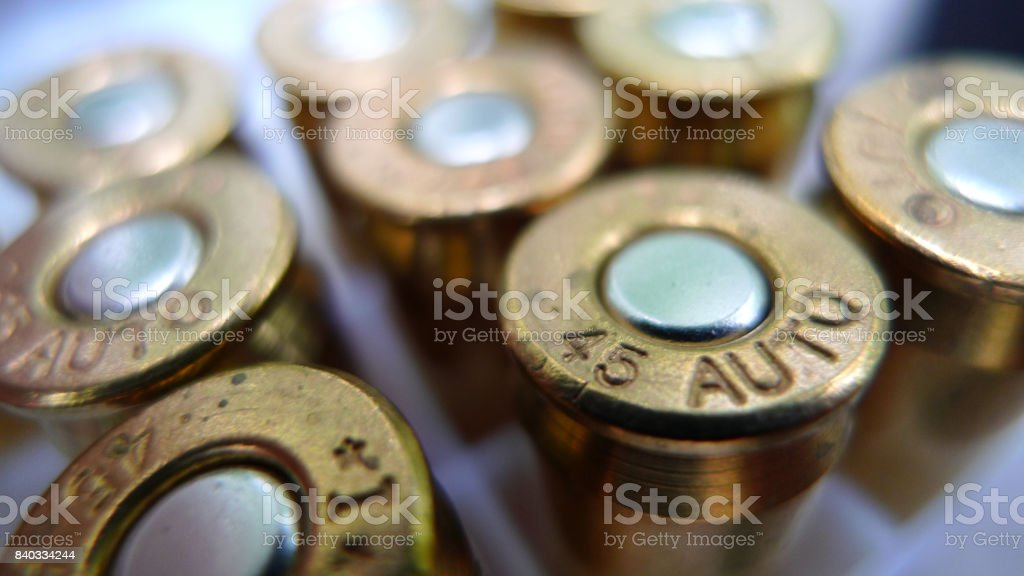 45mm rounds of bullet stock photo