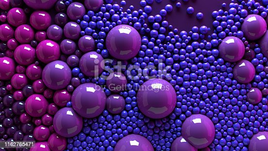 istock 4k 3d animation of spheres and balls colorful rainbow in a organic motion background. Top view of bubbles colorful paint 1162765471