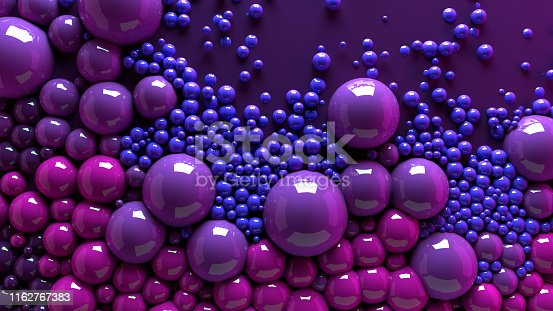 istock 4k 3d animation of spheres and balls colorful rainbow in a organic motion background. Top view of bubbles colorful paint 1162767383