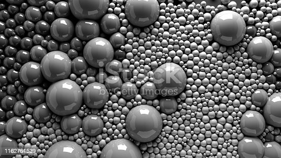istock 4k 3d animation of spheres and balls in a organic motion background. Top view of bubbles colorful paint 1162761539