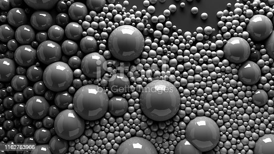 istock 4k 3d animation of spheres and balls in a organic motion background. Top view of bubbles colorful paint 1162763966