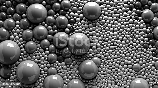istock 4k 3d animation of spheres and balls in a organic motion background. Top view of bubbles colorful paint 1162765948