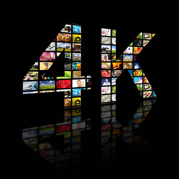 4k resolution tv concept. Television 4k resolution technology concept isolated on black. ultra high definition television stock pictures, royalty-free photos & images