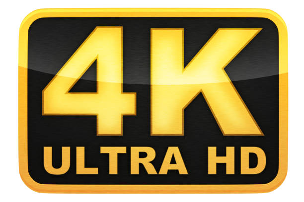 4k ultra hd logo 4k ultra hd logo, isolated background, 3d illustration ultra high definition television stock pictures, royalty-free photos & images