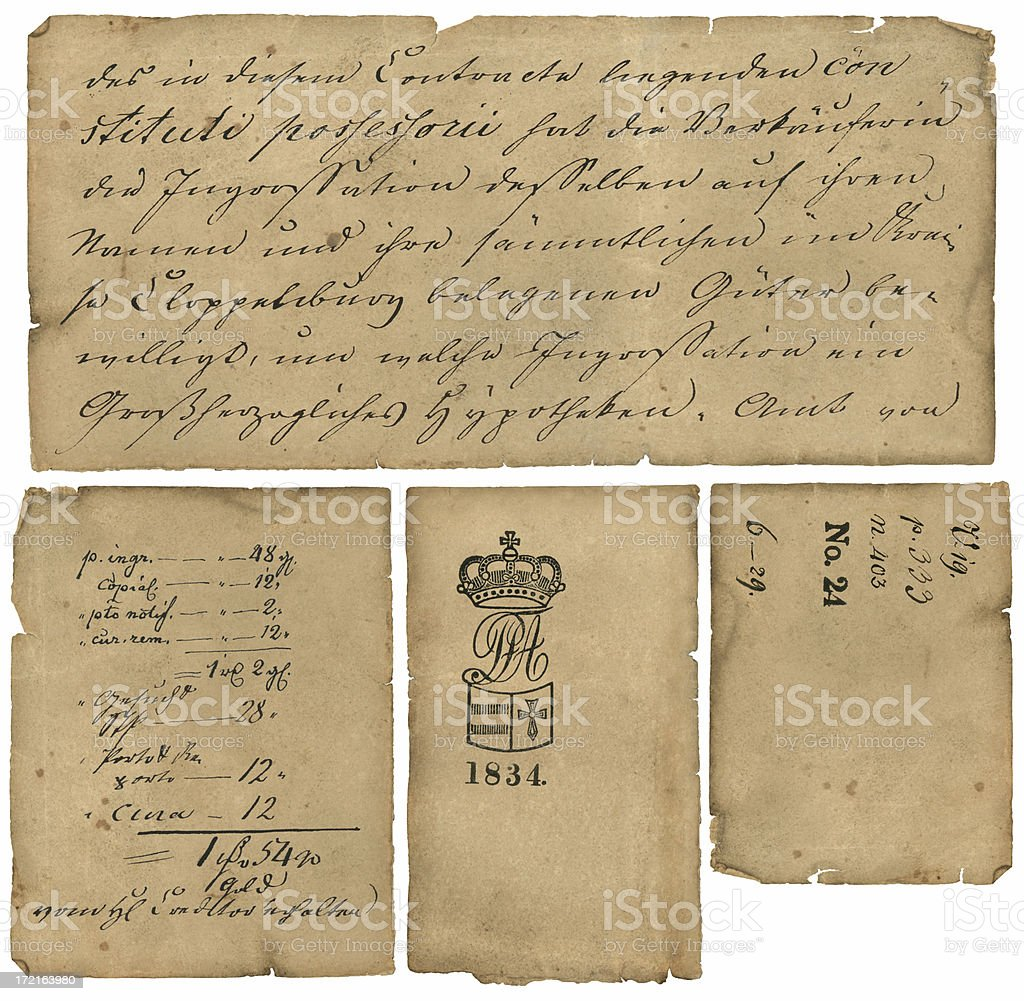 4-Pack of German Papers, 1834 stock photo