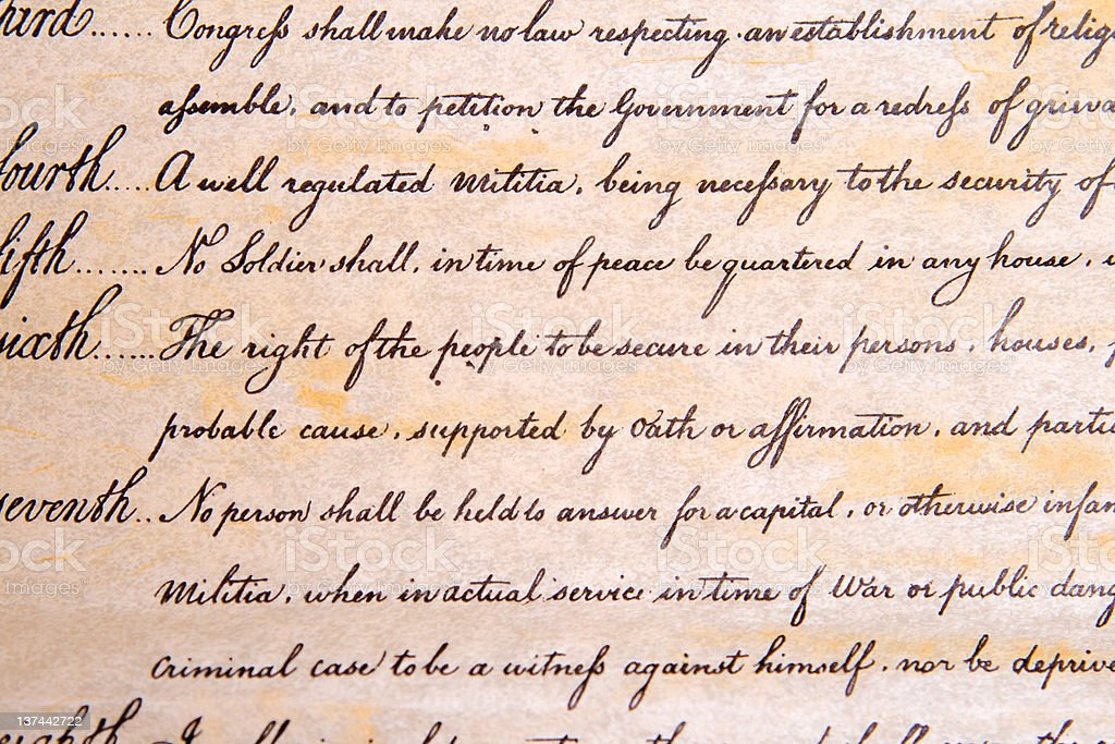 4th Amendment to U.S. Constitution Unreasonable Search and Seizure stock photo