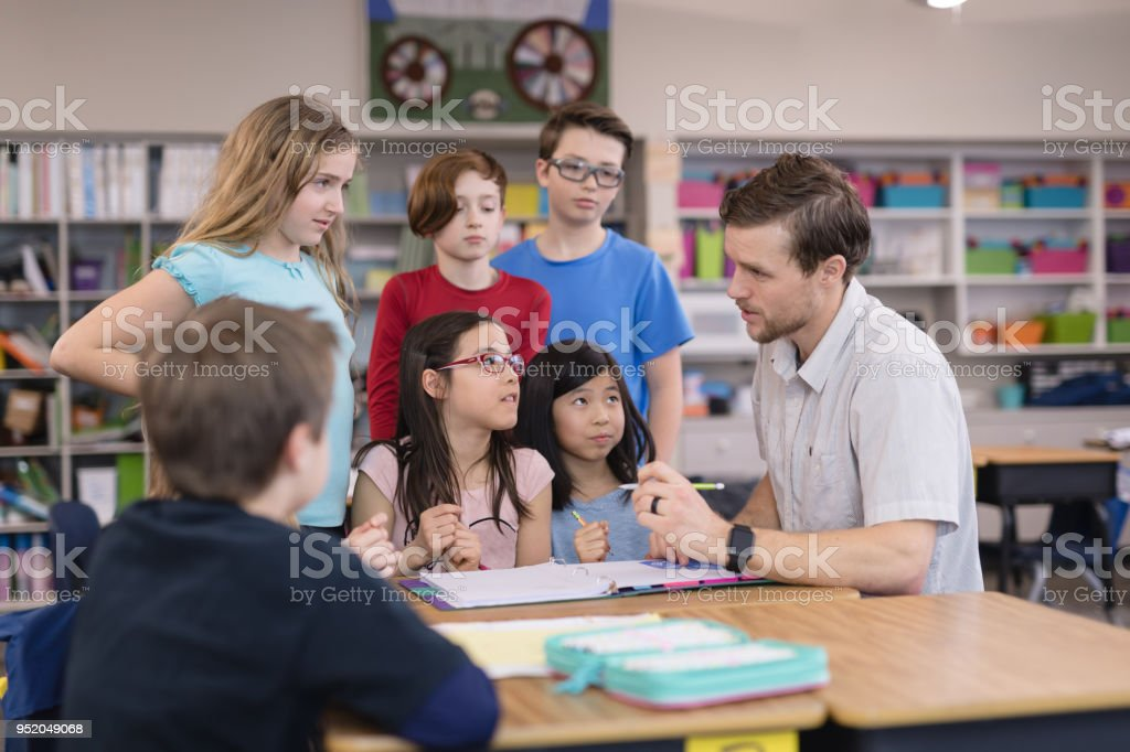 4th graders in the classroom stock photo
