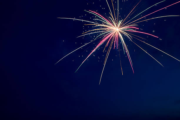 4th July fireworks. Fireworks display on dark sky background. stock photo