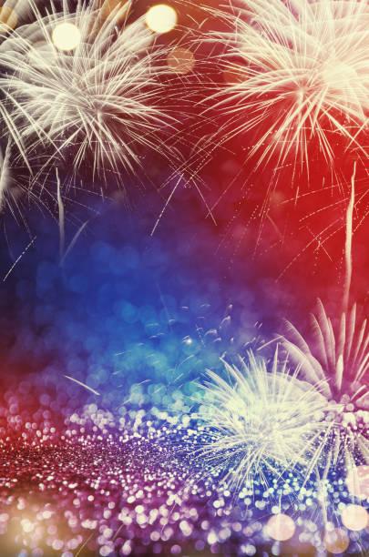 4. Juli Feuerwerk mit Glitzer Funkeln abstrakten Hintergrund – Foto