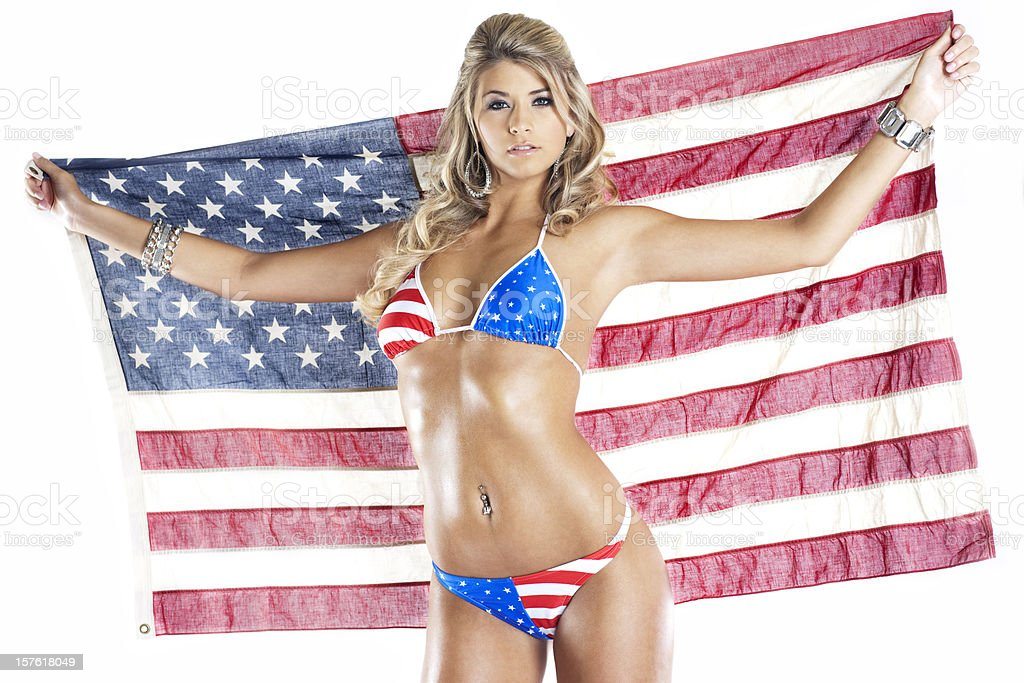 4th of July American Bikini on Sexy Young Woman, Flag stock photo