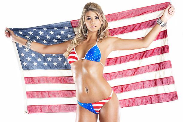 4th of July American Bikini on Sexy Young Woman, Flag stock photo