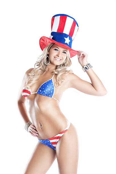 4th of July American Costume on Sexy Young Blond Woman stock photo
