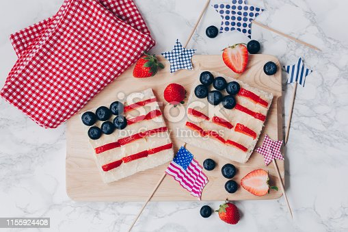 istock 4th of July American flag toast 1155924408