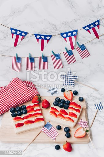 istock 4th of July American flag toast 1155924409