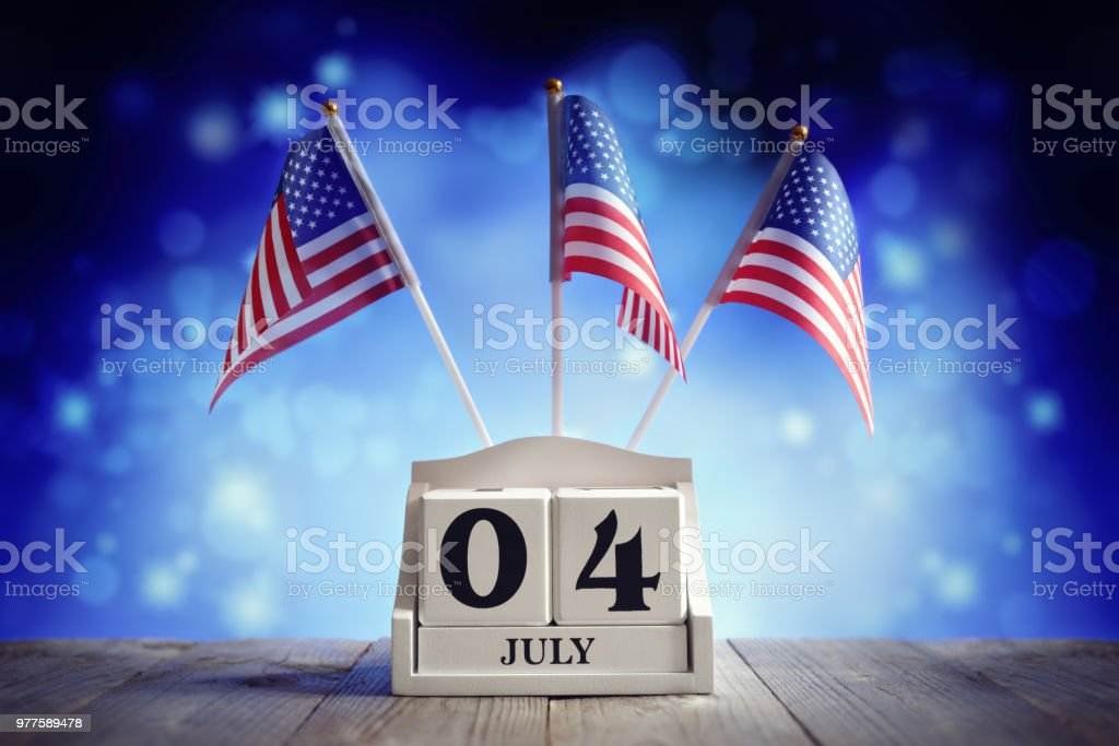 4th of July American Independence Day calendar and flags stock photo